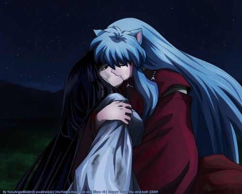 Inuyasha and Kikyo wallpaper called 'The Last Kiss'