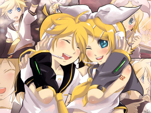 Rin and Len Kagamine karatasi la kupamba ukuta called from Cr~