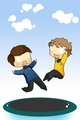 Bones and Chekov falling - star-trek-2009 fan art