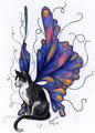 Blue Butterfly Cat - butterflies fan art