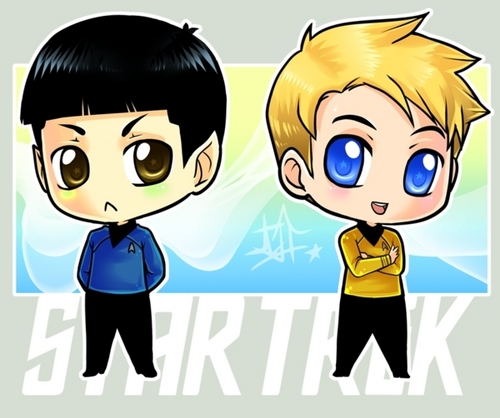 chibi Kirk and Spock
