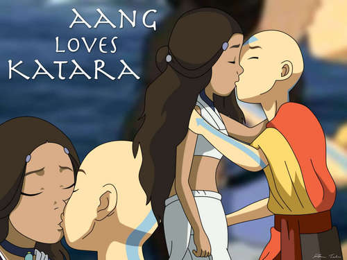Avatar The Last Airbender kertas dinding entitled Katara & Aang