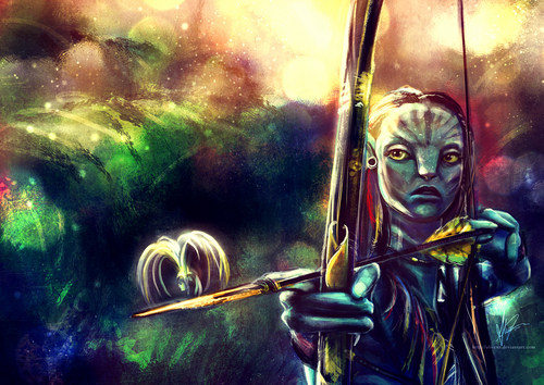 Avatar wallpaper entitled Neytiri painting
