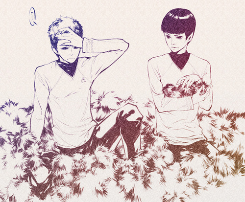 Spock and Kirk with tribbles