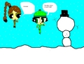butterscotch and Remona makeing a snowman