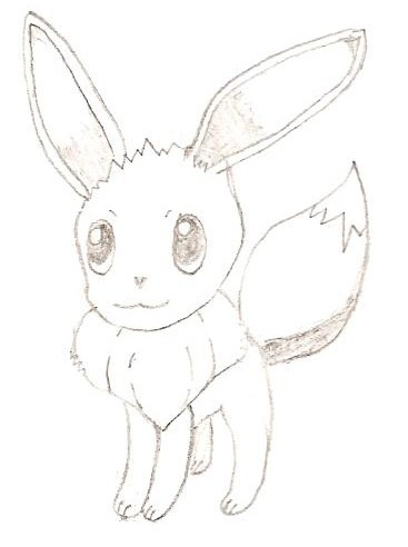 Eevee I DREW WITH PENCIL!!! (The scanner ruined the fine lines and shading, etc. Sorry.)