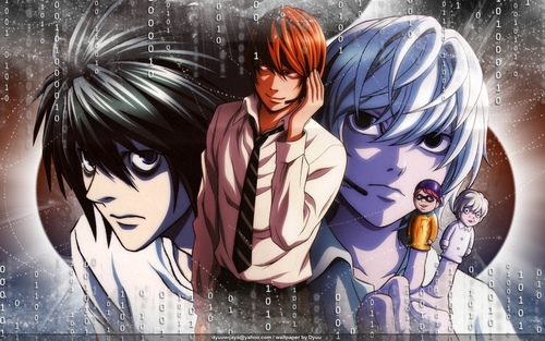 Death Note fond d'écran called L, LIGHT Y NEAR