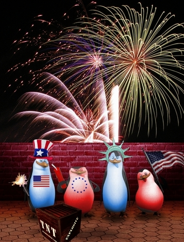 Patriotic Penguins on the Fourth of July