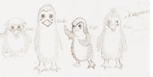hand-drawn baby penguins