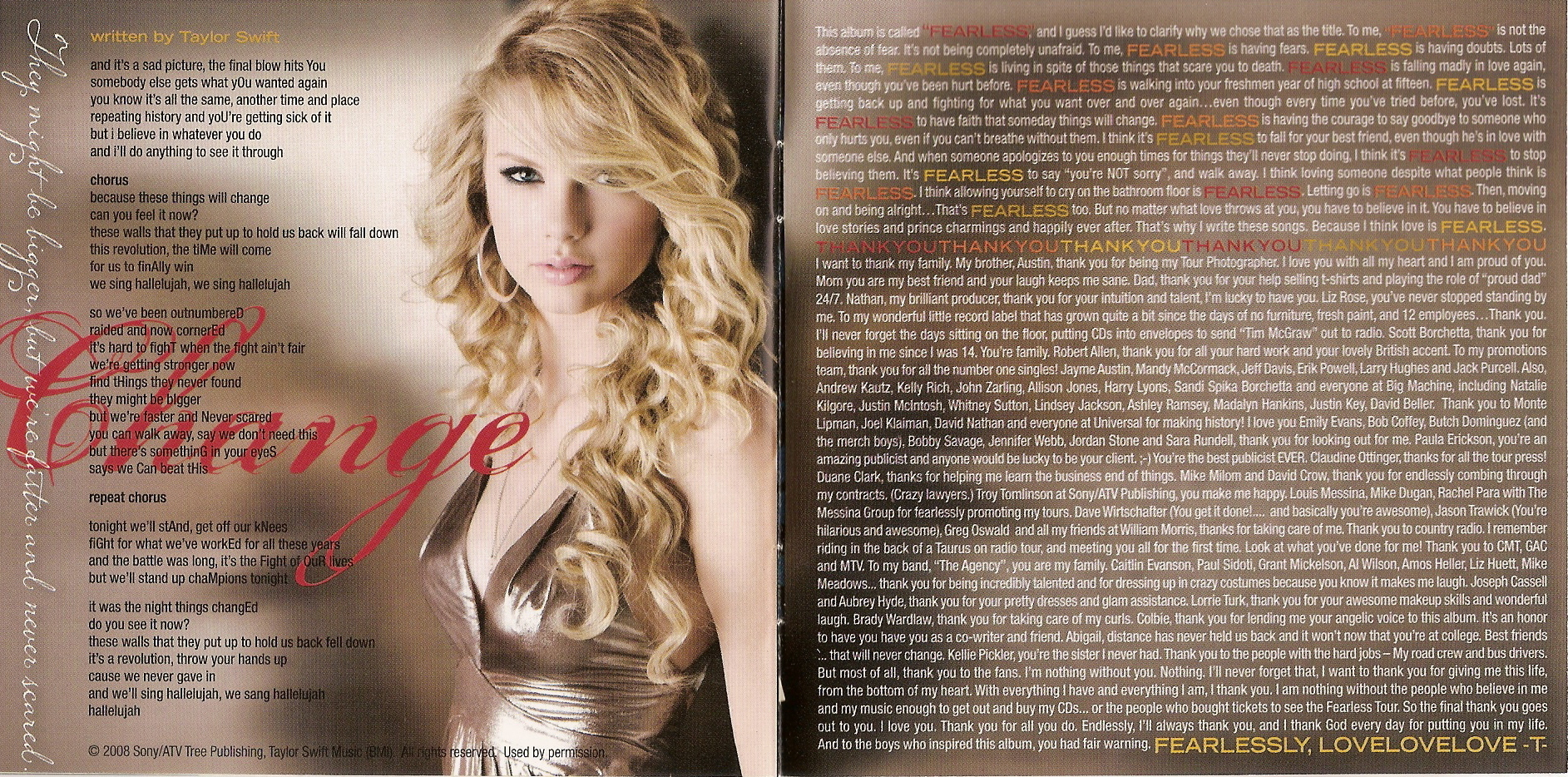 Taylor swift fearless album booklet.