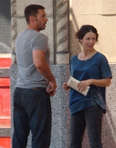 Evangeline Lilly and Hugh Jackman-filming 'Real Steel' in Detroit, Michigan (July 6)