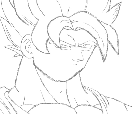 How to draw goku SSJ in MS Paint Step 2