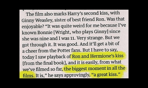 Awsome...i just cant wait for Ron n Hermione's kiss lol