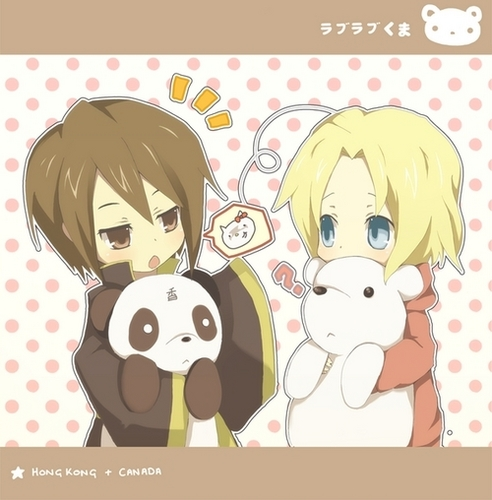 Hetalia Couples! wallpaper entitled Canada and Hong Kong <3