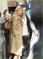 Clemence Poesy on Gossip Girl set