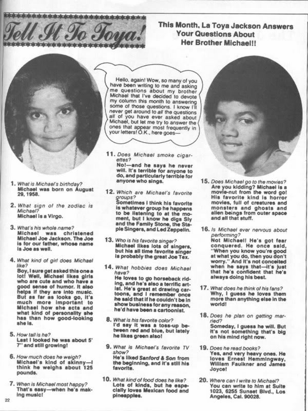 Janet about Michael..........
