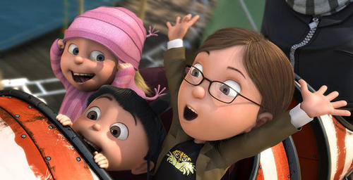 Margo, Edith, & Agnes on roller coaster - despicable-me Screencap