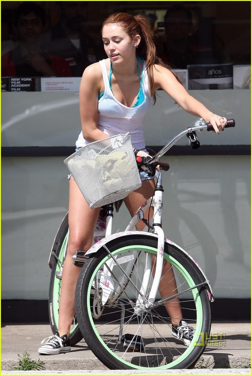 hannah montana riding a motorcycle naked
