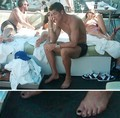 Ronaldo is painting your nails at your feet!