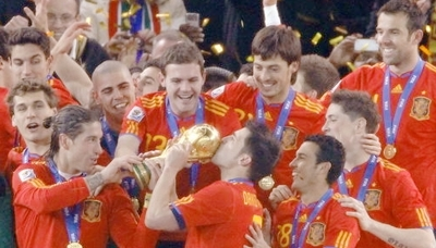 Spaniards celebrating