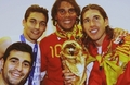 Spaniards celebrating with Rafael Nadal