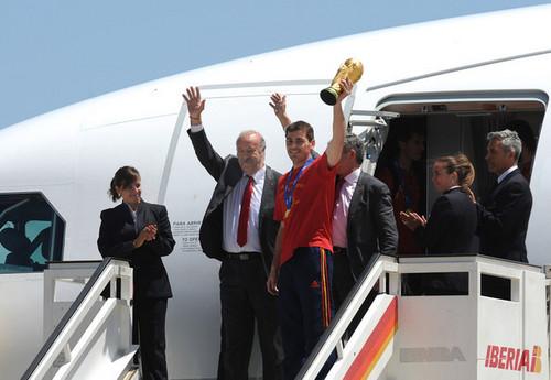 Spanish Football Team Arrives at Barajas Airport