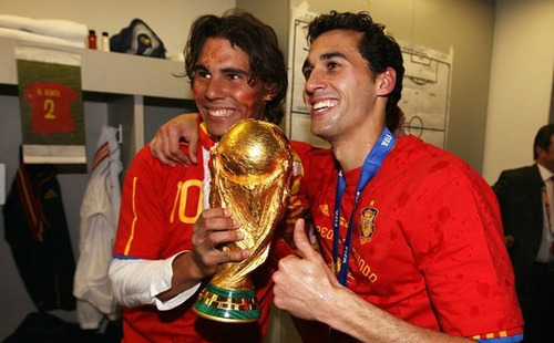FIFA World Cup South Africa 2010 wallpaper called Spanish team with Rafa Nadal