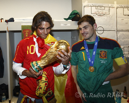 FIFA World Cup South Africa 2010 Hintergrund titled Spanish team with Rafa Nadal