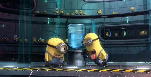 Despicable Me wallpaper titled minions messing with water dispenser