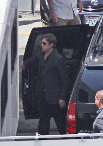 """Brad Pitt on set of """"Moneyball"""" in L.A. on July 12, 2010"""