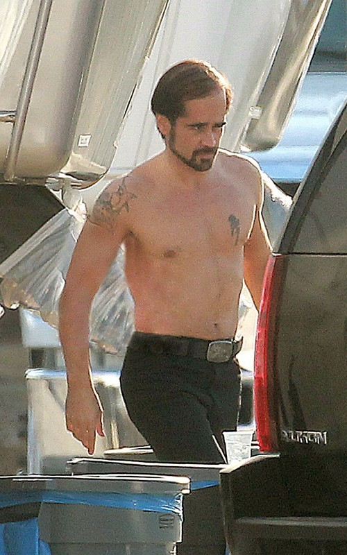 "Colin Farrell on the ""Horrible Bosses"" set (July 9)"