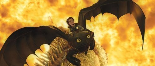 Hiccup and Toothless with Green Death