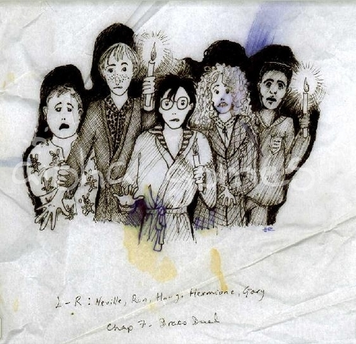 Neville, Ron, Harry, Hermione and Dean(?) design por J.K. Rowling, Harry Potter manuscript.
