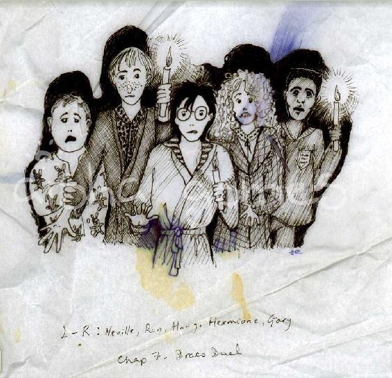 Neville, Ron, Harry, Hermione and Dean(?) design by J.K. Rowling, Harry Potter manuscript.