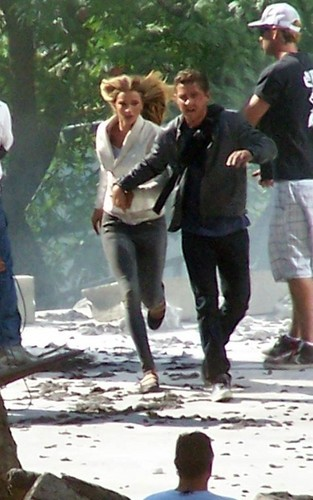 Shia & Rosie on set Transformers 3