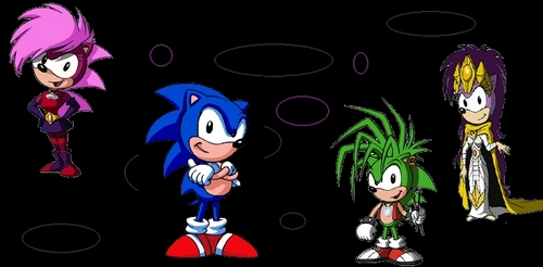 Sonic,maniuc,sonia and Queen aleena