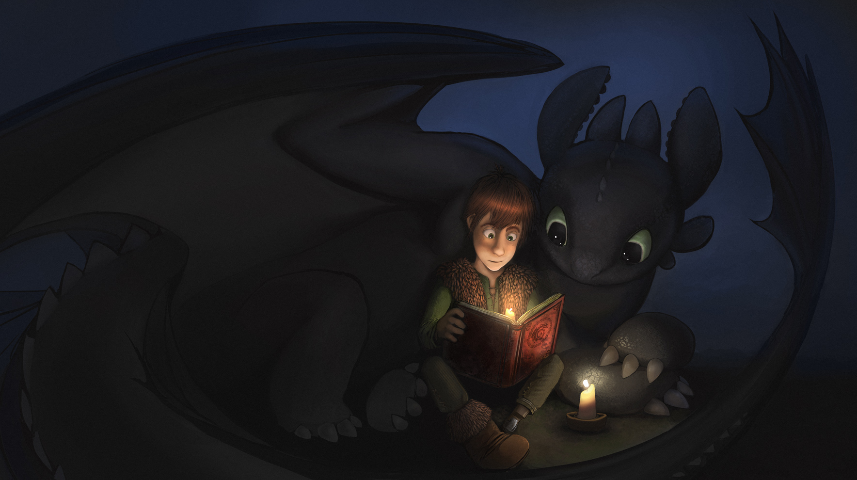 How to Train Your Dragon Toothless and Hiccup read a book