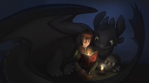 Toothless and Hiccup read a book