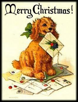 Vintage Christmas Dog - vintage Photo