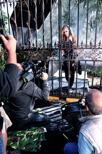 Avril on set Forbidden Rose Commercial!