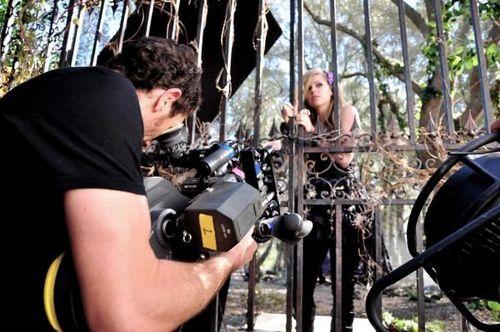 Avril on set Forbidden Rose Commercial!