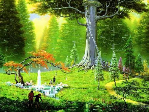 pantasiya Landscape mga wolpeyper