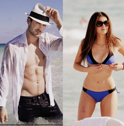 Ian Somerhalder and Nina Dobrev images Ian & Nina ♥ HD wallpaper and background photos