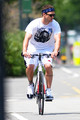 Justin out riding his bike in NY