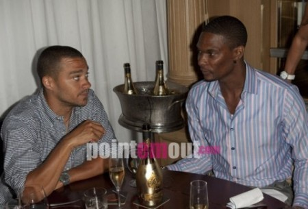 Jesse Williams with Chris Bosh and his girlfriend