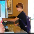 Justin bieber goes to the boston market with some friends
