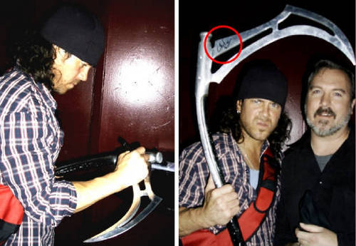 Me and Lindsey(Christian Kane) and my screen used scythe From Angel
