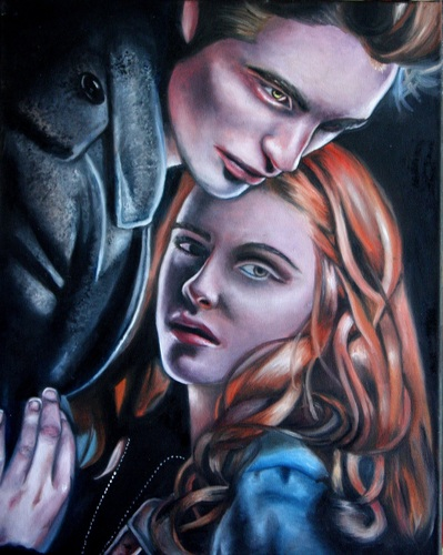 Oil painting of Edward and Bella