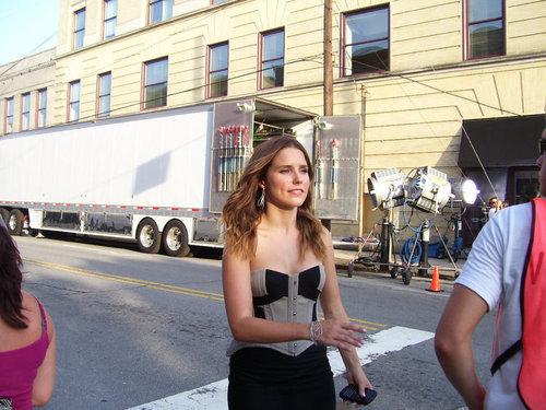 Sophia on set