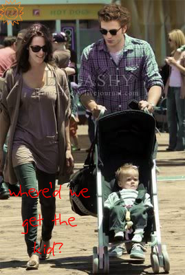 Robert Pattinson & Kristen Stewart 壁紙 entitled Where'd we get the kid?